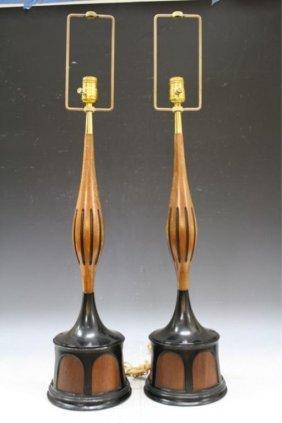Pair Of Black & Wood Laurel Lamps American