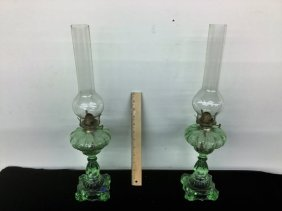 Pair Green Oil Lamps With Chimneys