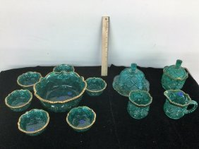 Lot Green Carnival Glass