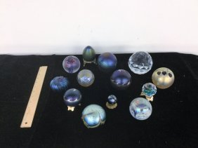 Lot Of Signed Art Glass/crystal Paperweights