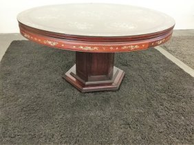 Oriental Style Inlaid Round Table
