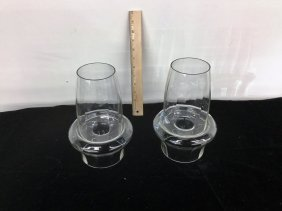Pair Glass Candleholders
