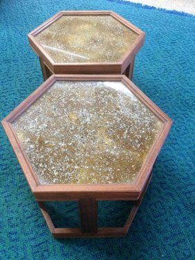Pair Hexagon Brown And Saltman End Tables