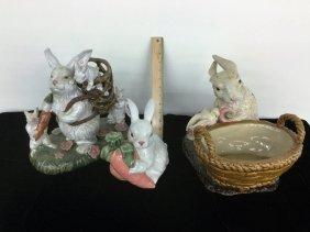 Lot Of Three Ceramic Bunnies