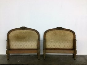 Pair Antq Carved Twin Beds