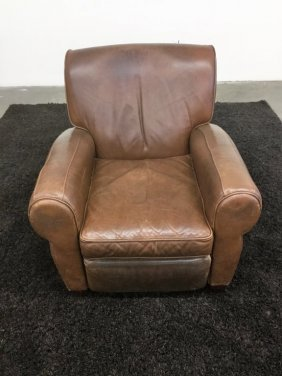 Brown Recliner Worn Leather