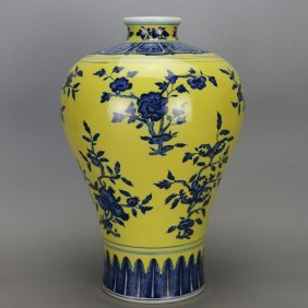 Chinese Qing Blue And Yellow Meiping Vase