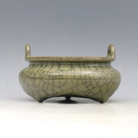 Chinese Antique Ge Yao Tripod Censer