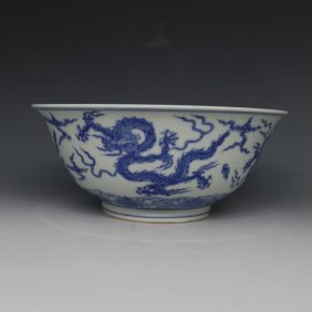An Antique Chinese Dragon Porcelain Bowl