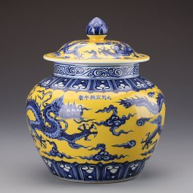 Chinese Yellow Glazed Blue And White Porcelain Jar