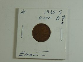Rare Error Coin 1935 S Over D Wheat Cent