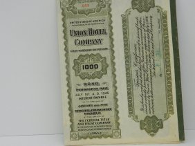 Union Hotel Stock Certificate With Coupons