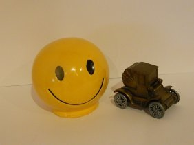Lot Of 2 Banks; Mccoy Happy Face, Banthrico Car Bank