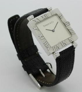 Retired Tiffany & Co Sterling Silver Square Atlas Watch