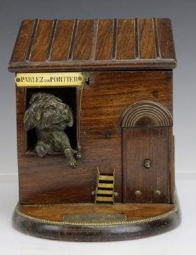 Antique French Dog House Tobacco Cigarette Serving Box