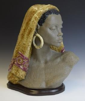 Large LLADRO African Woman Gres Porcelain Bust