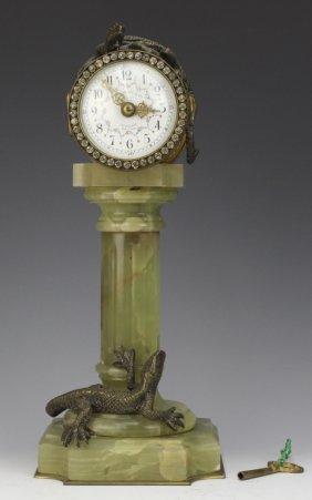 Rare Caldwell Bronze Lizard French Pedestal Clock