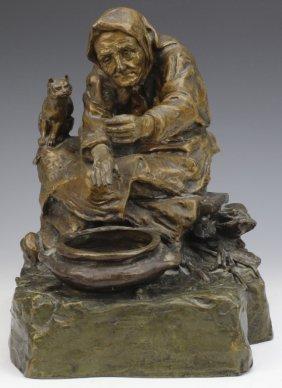 Oskar Hertel Germany Seated Woman Bronze Statue