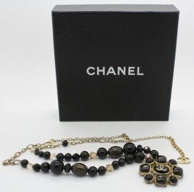 Signed Chanel Byzantine Black Gold Bead Necklace