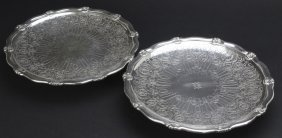 Pair Tiffany & Co Silver Engraved Cake Plate Tazas