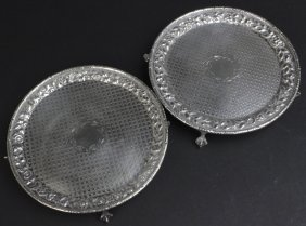 Pr Kirk & Son 19th C Silver Repousse Footed Plates