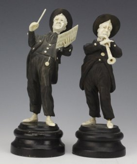 Pair German Ebony Ivory Musician Conductor Statues