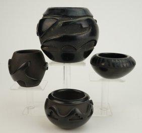 4 Pcs Santa Clara Pueblo Blackware Pottery Bowls