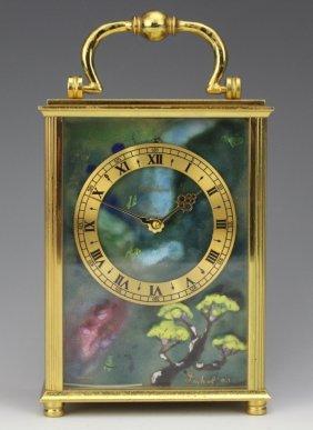 Imhof Enamel Bucherer Brass Carriage Clock