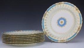 """Set 8 Minton Fine China Turquoise Ivory 10"""" Plates"""