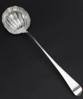 Early Georgian English Silver Shell Punch Ladle