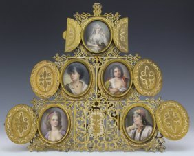 Fine German Berlin 5 Pc Porcelain Portrait Plaques