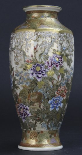 Fine Japanese Sastuma Octagonal Vase W Mt Fuji