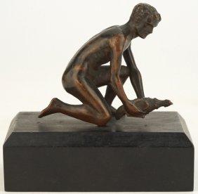 Antique Miniature Figural Bronze Nude Male W/ Cock