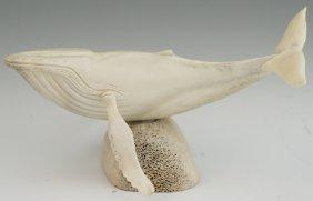 Signed Alaskan Inuit Carved Whale Bone Sculpture