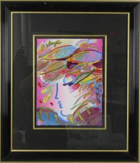 Peter Max Portrail Profile Acrylic On Paper