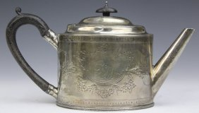 George Iii Chased Silver Teapot By Hester Bateman