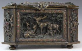 German Black Forest Hunt Scene Bronze Casket Box