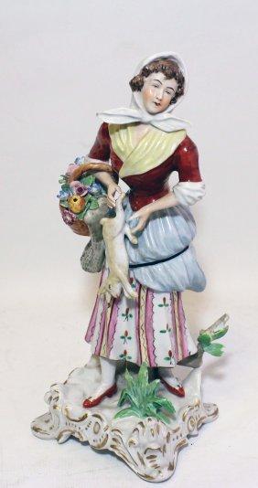 Sculpture 'a Girl With A Rabbit'