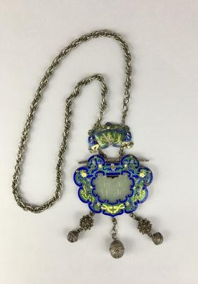 A Chinese Jade-mounted Silver Enamel Amulet And