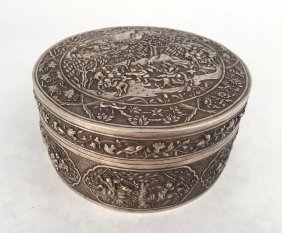 A Chinese Silver Box With Cover