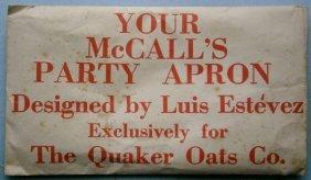 Mccalls Party Apron Pattern Designed By Luis Estevez