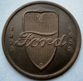 1933 Worlds Fair Ford Motor V8 Engine Token