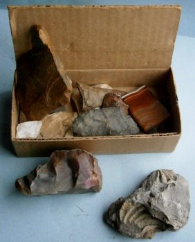 Assorted Flint Arrowheads And Miscellaneous Fossil