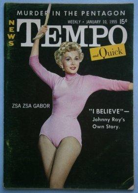 January 1955 Tempo Magazine With Zsa Zsa Gabor & Linda