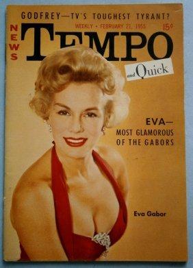 February 1955 Tempo Magazine With Eva Gabor & Eden