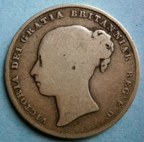 Great Britain 1845 One Shilling Silver Coin