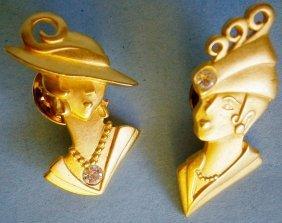 Art Deco Ladies With Rhinestones Lapel Pins Signed Jj