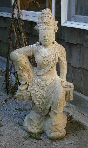 Vintage Concrete Statue Of Indian Deity