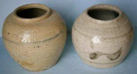 Pair Of 19th Century Decorated Stoneware Jars