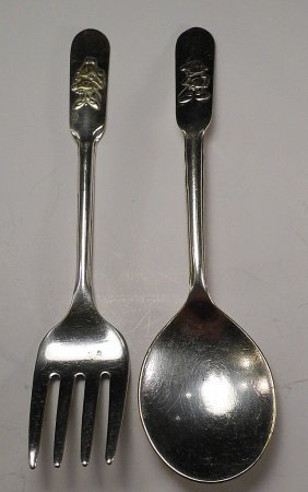 Pair Vintage Mickey Mouse Fork Spoon Walt Disney